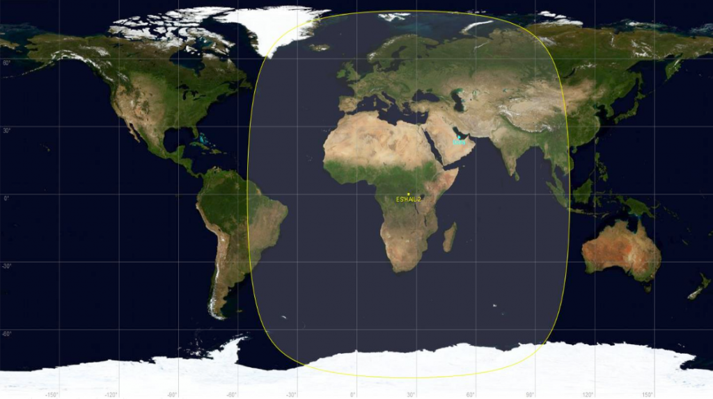 Zasięg satelity Es'hail2