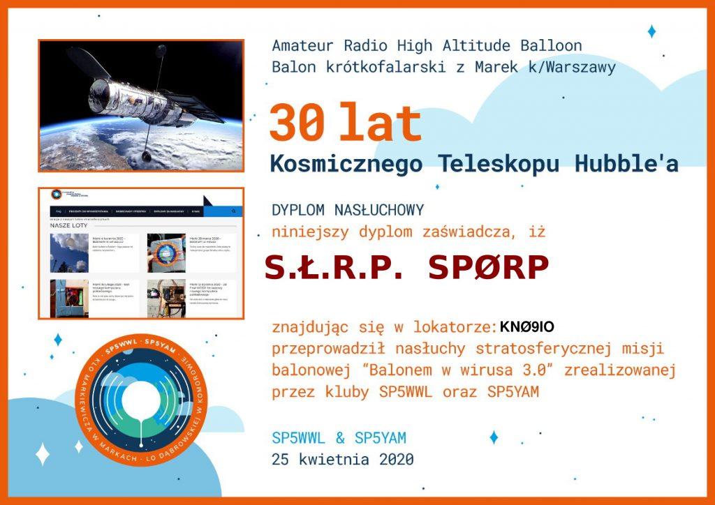 Dyplom nasłuchowy dla SPØRP - 25.04.2020
